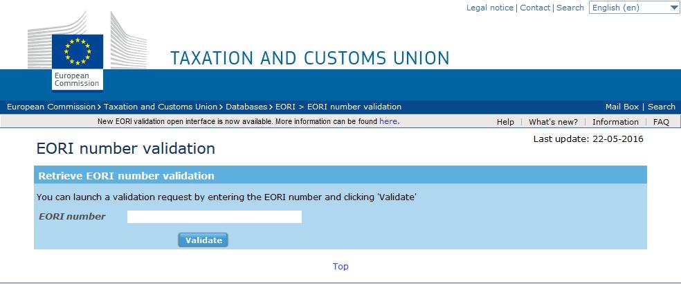 EORI number validation